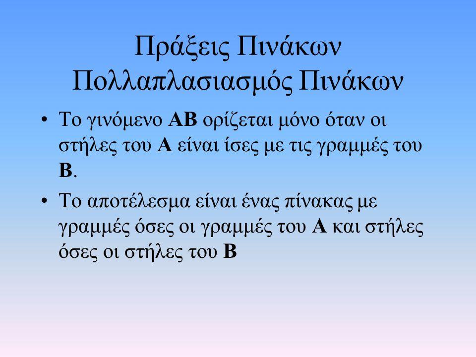 Περιορισμοί Πινάκων •Οι πολλαπλασιασμοί • Αm,n ∙ Βn,k=Cm,k • Αm,n ∙ Bn,1 =Cm,1 •είναι εφικτοί • ο πολλαπλασιασμός •Bn,k ∙ Αm,n δεν μπορεί να γίνει