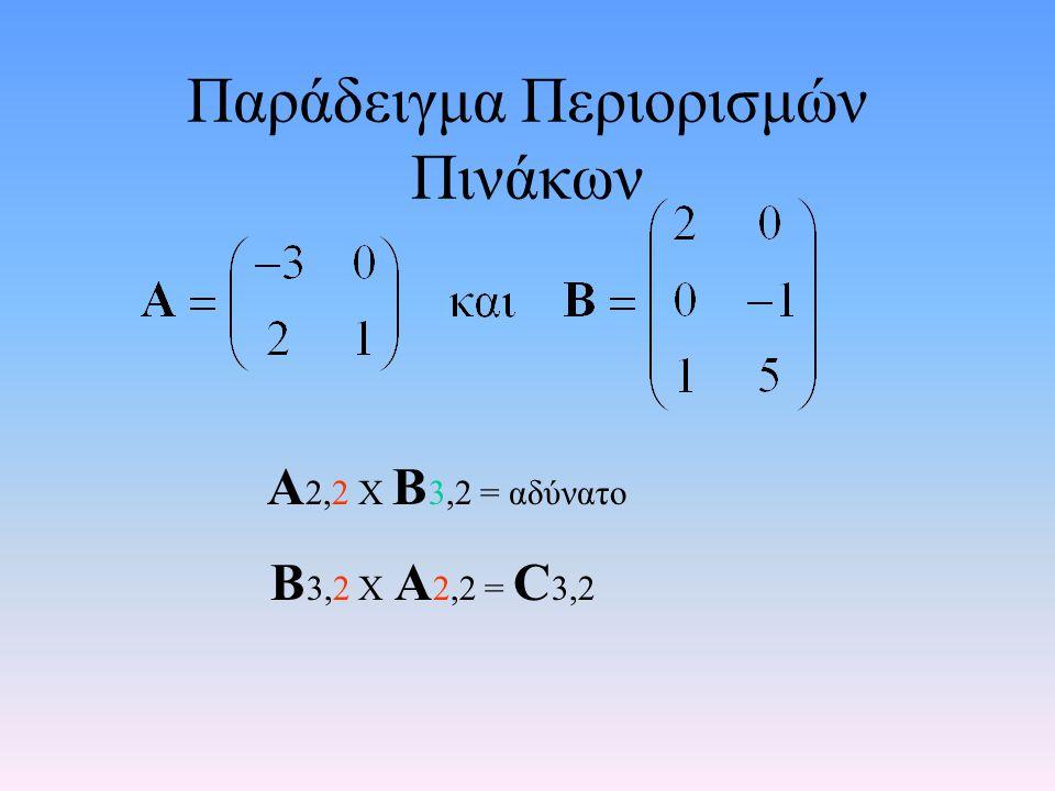 Πράξεις Πινάκων Πολλαπλασιασμός πινάκων: Ανάγεται σε πολλαπλασιασμό διανυσμάτων γραμμή Χ στήλη 1η γραμμή Χ 1η στήλη= Στοιχείο 1ης γραμμής, 1ης στήλης