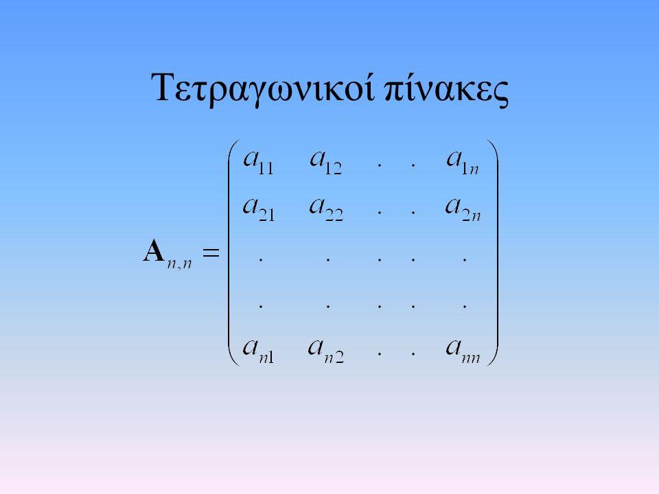 Ορισμοί – Κύρια Διαγώνιος Κύρια διαγώνιος