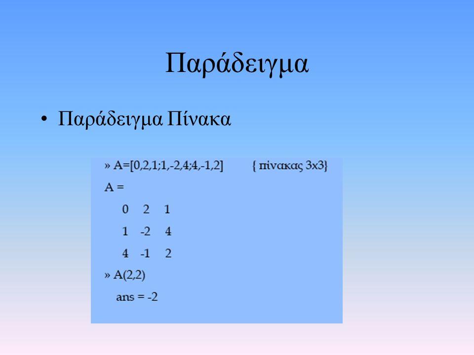Συμβολισμοί •Πίνακας : Κεφαλαία έντονα Λατινικά •Διάνυσμα: Πεζά έντονα Ελληνικά • παράδειγμα Α, Β, ξ, η •Δείκτες: ακέραιοι ή σύμβολα που παριστούν ακεραίους (m, n,…) •Σε πίνακες δύο διαστάσεων ο πρώτος δείκτης αναφέρεται στον αριθμό σειρών και ο δεύτερος στον αριθμό στηλών •Παράδειγμα Α m,n είναι πίνακας με m γραμμές και n στήλες