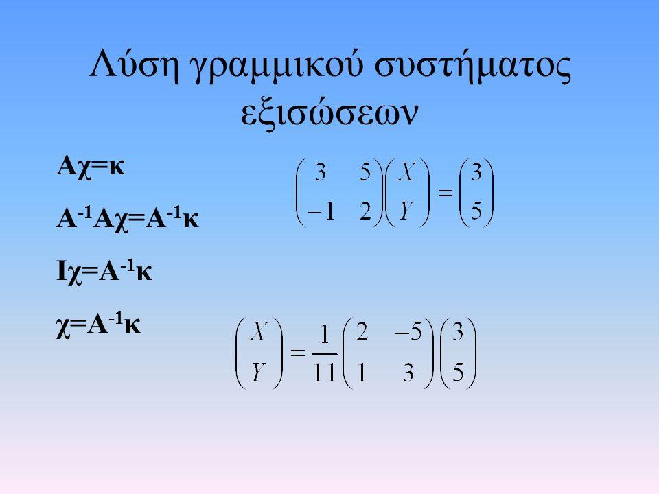 Πίνακες και Matlab •Αντιστροφή πίνακα: δίνεται από τη συνάρτηση inv: inv(A) •Η ορίζουσα πίνακα δίνεται από τη συνάρτηση det: det(A) •Ύψωση τετραγωνικού πίνακα σε μια βαθμωτή δύναμη c: Α^c