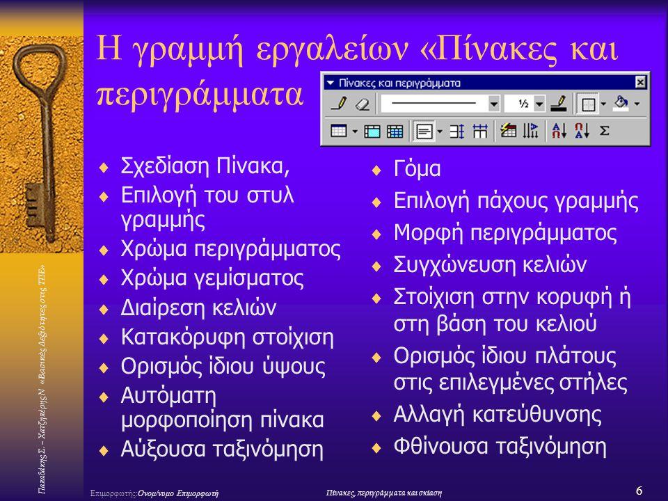 Παπαδάκης Σ. – Χατζηπέρης Ν «Βασικές Δεξιότητες στις ΤΠΕ» 6 Επιμορφωτής:Ονομ/νυμο ΕπιμορφωτήΠίνακες, περιγράμματα και σκίαση Η γραμμή εργαλείων «Πίνακ