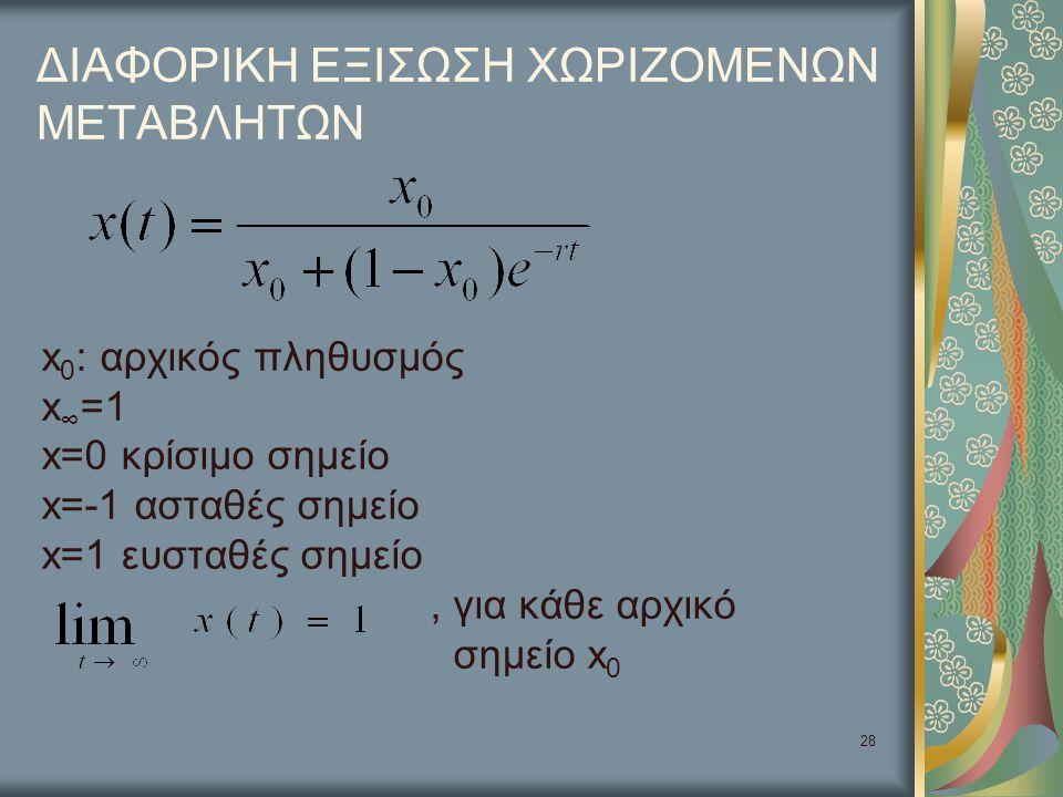 28 ΔΙΑΦΟΡΙΚΗ ΕΞΙΣΩΣΗ ΧΩΡΙΖΟΜΕΝΩΝ ΜΕΤΑΒΛΗΤΩΝ x 0 : αρχικός πληθυσμός x ∞ =1 x=0 κρίσιμο σημείο x=-1 ασταθές σημείο x=1 ευσταθές σημείο, για κάθε αρχικό