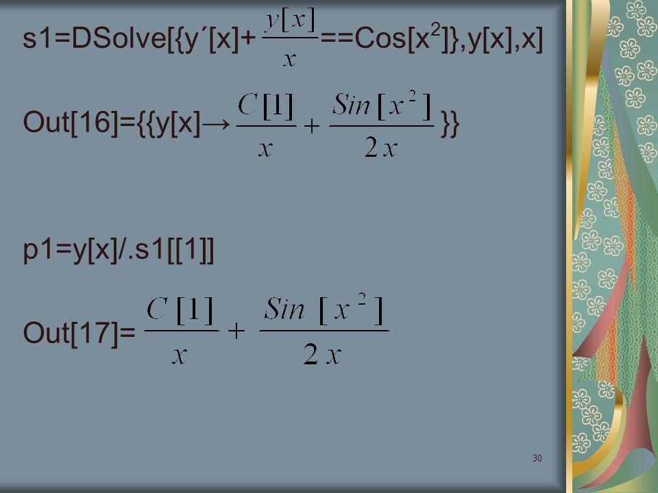 30 s1=DSolve[{y΄[x]+ ==Cos[x 2 ]},y[x],x] Out[16]={{y[x]→ }} p1=y[x]/.s1[[1]] Out[17]=