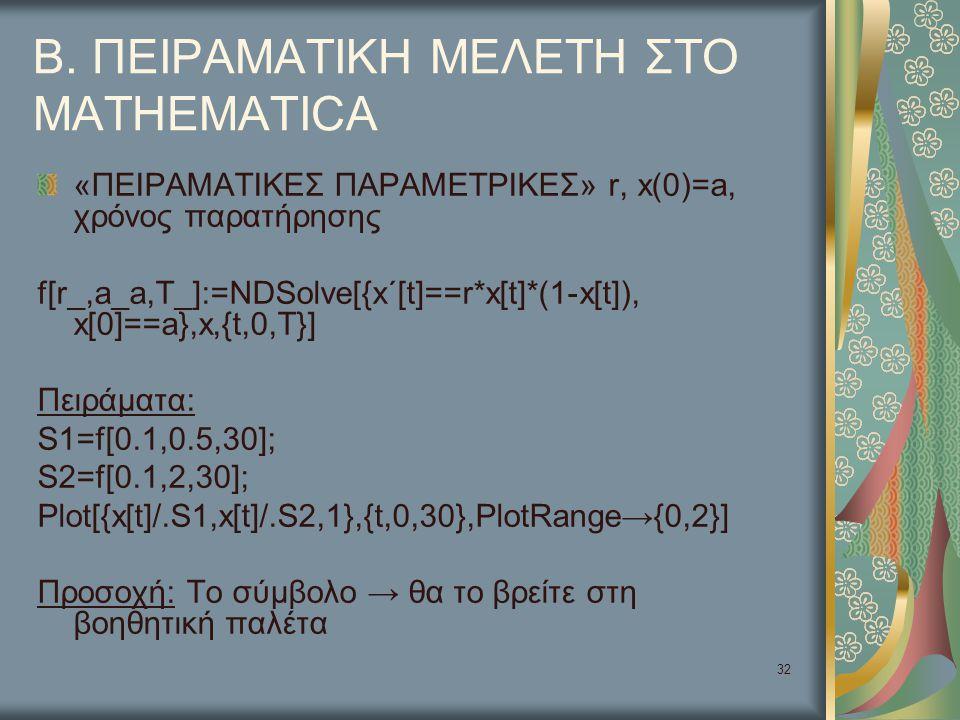32 Β. ΠΕΙΡΑΜΑΤΙΚΗ ΜΕΛΕΤΗ ΣΤΟ MATHEMATICA «ΠΕΙΡΑΜΑΤΙΚΕΣ ΠΑΡΑΜΕΤΡΙΚΕΣ» r, x(0)=a, χρόνος παρατήρησης f[r_,a_a,T_]:=NDSolve[{x΄[t]==r*x[t]*(1-x[t]), x[0]
