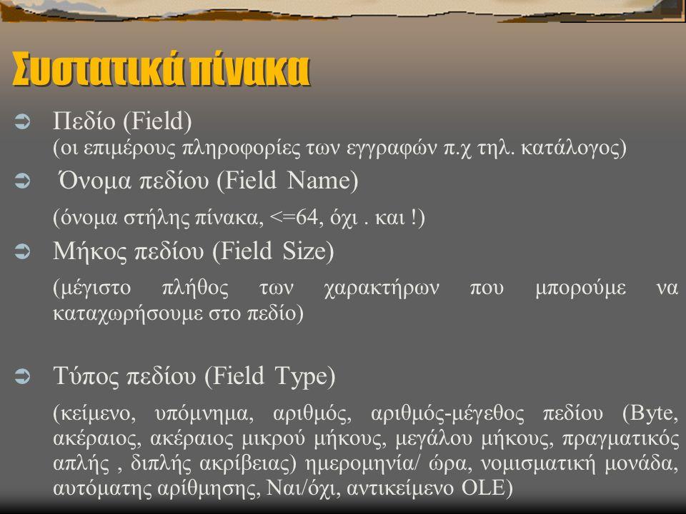 Συστατικά πίνακα  Πεδίο (Field) (οι επιμέρους πληροφορίες των εγγραφών π.χ τηλ. κατάλογος)  Όνομα πεδίου (Field Name) (όνομα στήλης πίνακα, <=64, όχ