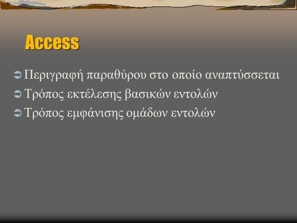Access  Περιγραφή παραθύρου στο οποίο αναπτύσσεται  Τρόπος εκτέλεσης βασικών εντολών  Τρόπος εμφάνισης ομάδων εντολών