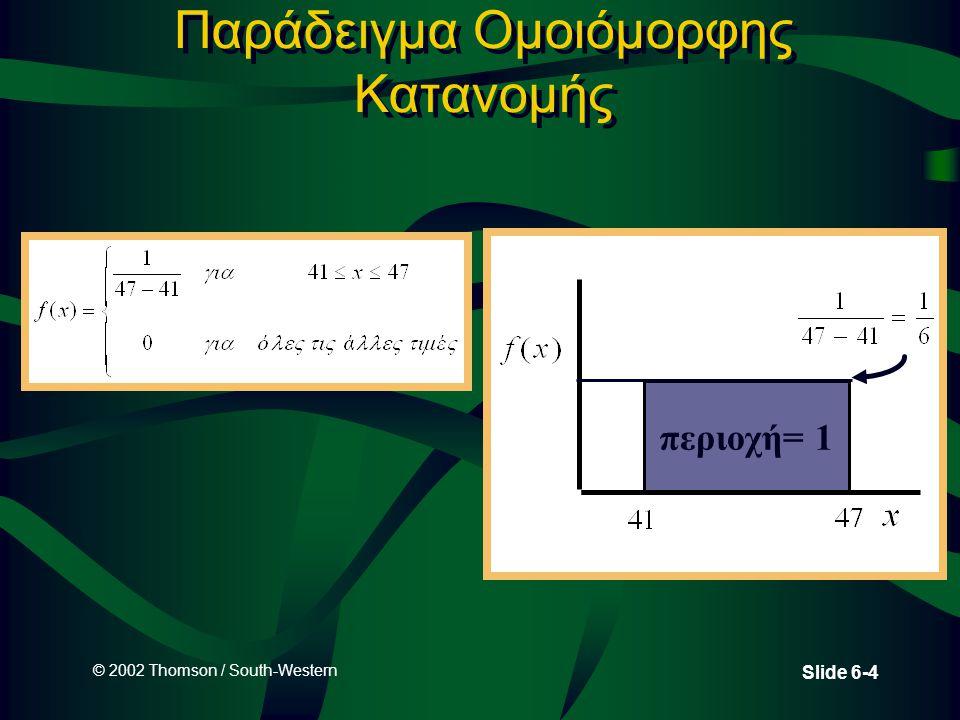 © 2002 Thomson / South-Western Slide 6-15 Προσέγγιση της Διωνυμικής Κατανομής μέσω της Κανονικής Κατανομής •Η κανονική κατανομή μπορεί να χρησιμοποιηθεί για να προσεγγίσουμε διωνυμικές πιθανότητες •Διαδικασία –Μετατροπή παραμέτρων διωνυμικής κατανομής σε παραμέτρους κανονικής κατανομής –Είναι το διάστημα μεταξύ του 0 και n.