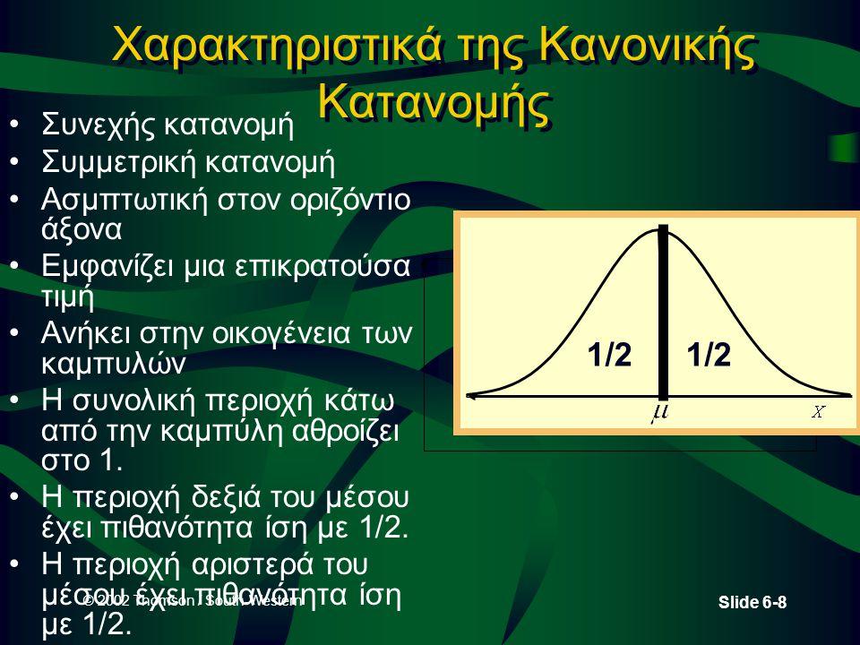 © 2002 Thomson / South-Western Slide 6-8 Χαρακτηριστικά της Κανονικής Κατανομής •Συνεχής κατανομή •Συμμετρική κατανομή •Ασμπτωτική στον οριζόντιο άξον