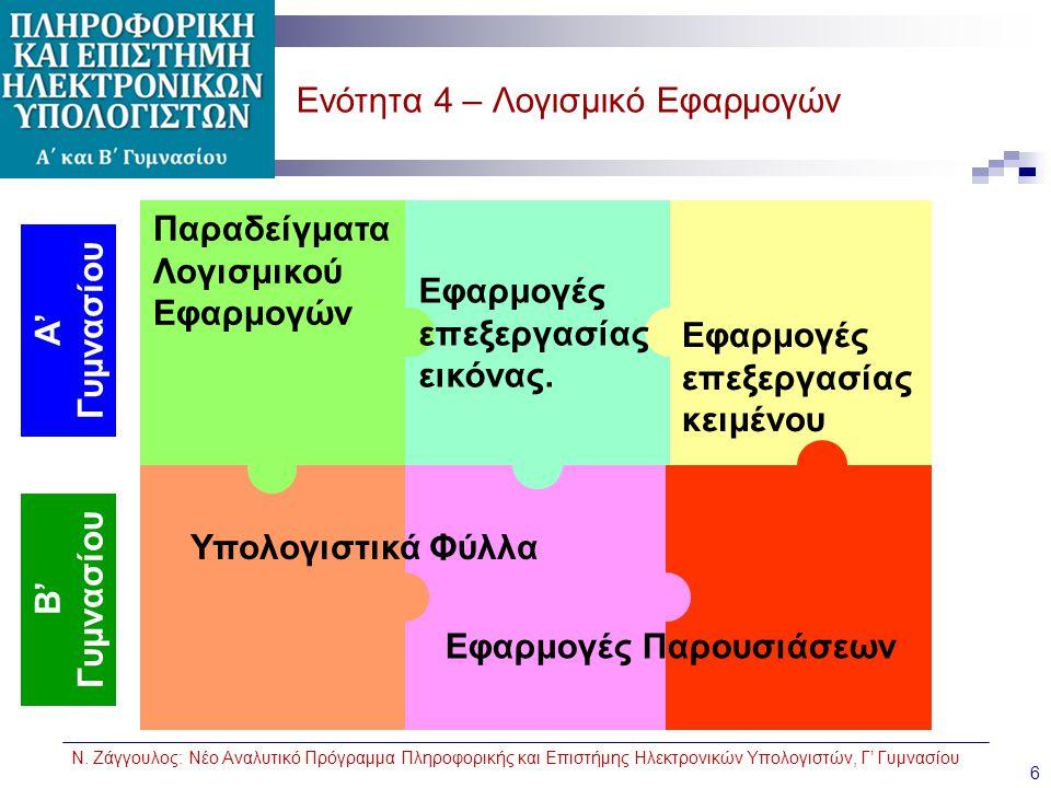 Ν. Ζάγγουλος: Νέο Αναλυτικό Πρόγραμμα Πληροφορικής και Επιστήμης Ηλεκτρονικών Υπολογιστών, Γ' Γυμνασίου Ενότητα 4 – Λογισμικό Εφαρμογών 6 Παραδείγματα