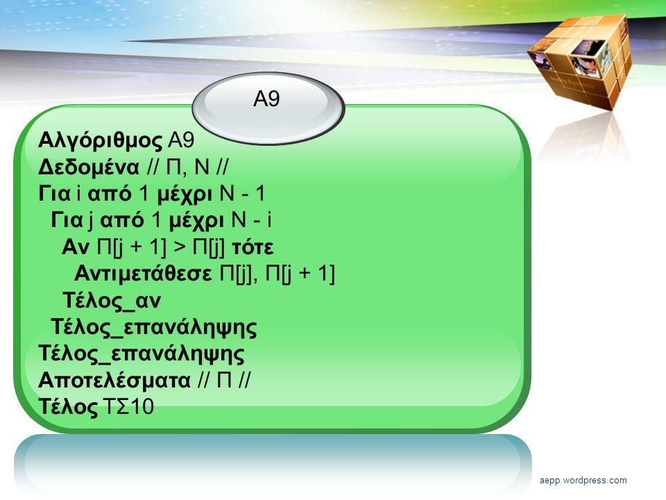 aepp.wordpress.com Α9 Αλγόριθμος Α9 Δεδομένα // Π, Ν // Για i από 1 μέχρι Ν - 1 Για j από 1 μέχρι Ν - i Aν Π[j + 1] > Π[j] τότε Αντιμετάθεσε Π[j], Π[j + 1] Τέλος_αν Τέλος_επανάληψης Αποτελέσματα // Π // Τέλος ΤΣ10