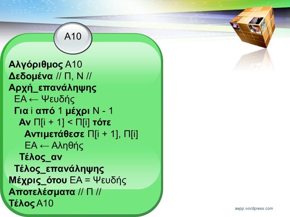 aepp.wordpress.com Α10 Αλγόριθμος Α10 Δεδομένα // Π, Ν // Αρχή_επανάληψης ΕΑ ← Ψευδής Για i από 1 μέχρι Ν - 1 Αν Π[i + 1] < Π[i] τότε Αντιμετάθεσε Π[i + 1], Π[i] ΕΑ ← Αληθής Τέλος_αν Τέλος_επανάληψης Μέχρις_ότου ΕΑ = Ψευδής Αποτελέσματα // Π // Τέλος Α10