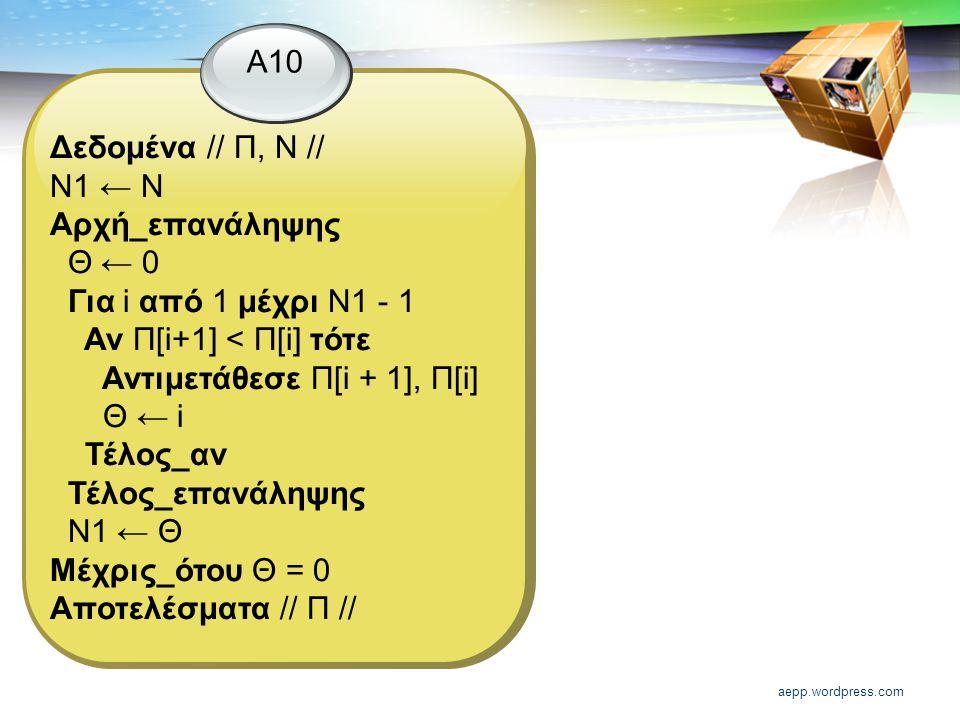 aepp.wordpress.com Α10 Δεδομένα // Π, Ν // Ν1 ← Ν Αρχή_επανάληψης Θ ← 0 Για i από 1 μέχρι Ν1 - 1 Αν Π[i+1] < Π[i] τότε Αντιμετάθεσε Π[i + 1], Π[i] Θ ← i Τέλος_αν Τέλος_επανάληψης Ν1 ← Θ Μέχρις_ότου Θ = 0 Αποτελέσματα // Π //