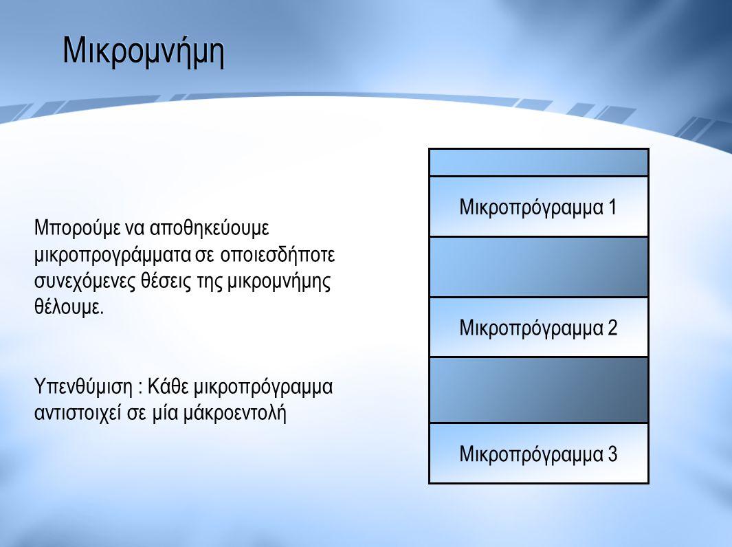 Μικροπρόγραμμα 1 Μικροπρόγραμμα 2 Μικροπρόγραμμα 3 Μπορούμε να αποθηκεύουμε μικροπρογράμματα σε οποιεσδήποτε συνεχόμενες θέσεις της μικρομνήμης θέλουμ