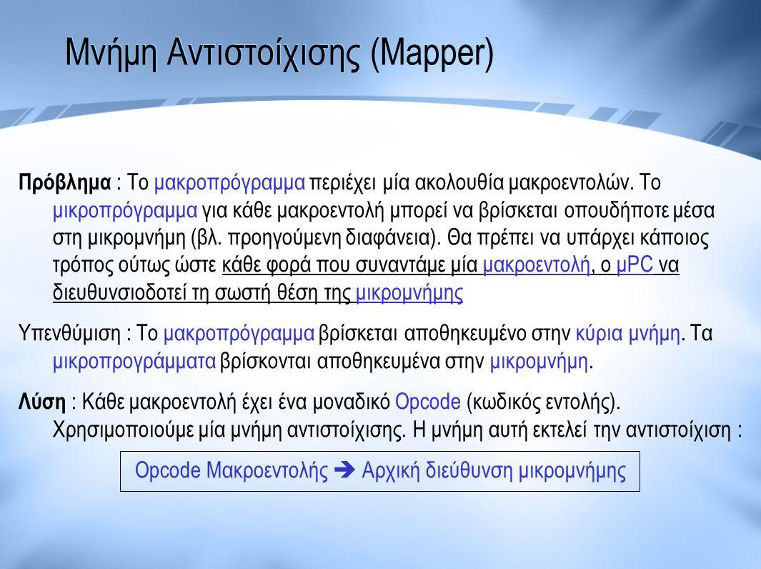 Μνήμη Αντιστοίχισης (Mapper) Πρόβλημα : Το μακροπρόγραμμα περιέχει μία ακολουθία μακροεντολών. Το μικροπρόγραμμα για κάθε μακροεντολή μπορεί να βρίσκε