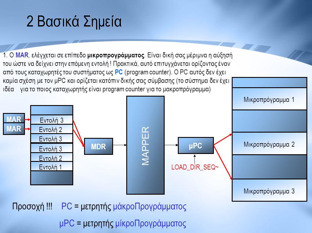 2 Βασικά Σημεία Μικροπρόγραμμα 1 Μικροπρόγραμμα 2 Μικροπρόγραμμα 3 μPC MDR Εντολή 3 Εντολή 2 Εντολή 3 Εντολή 2 Εντολή 1 MAR MAPPER LOAD_DIR_SEQ~ MAR 1