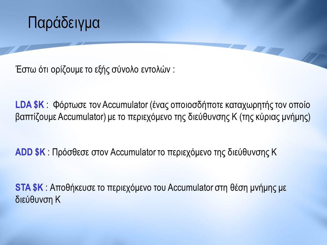 Παράδειγμα Έστω ότι ορίζουμε το εξής σύνολο εντολών : LDA $K : Φόρτωσε τον Accumulator (ένας οποιοσδήποτε καταχωρητής τον οποίο βαπτίζουμε Accumulator