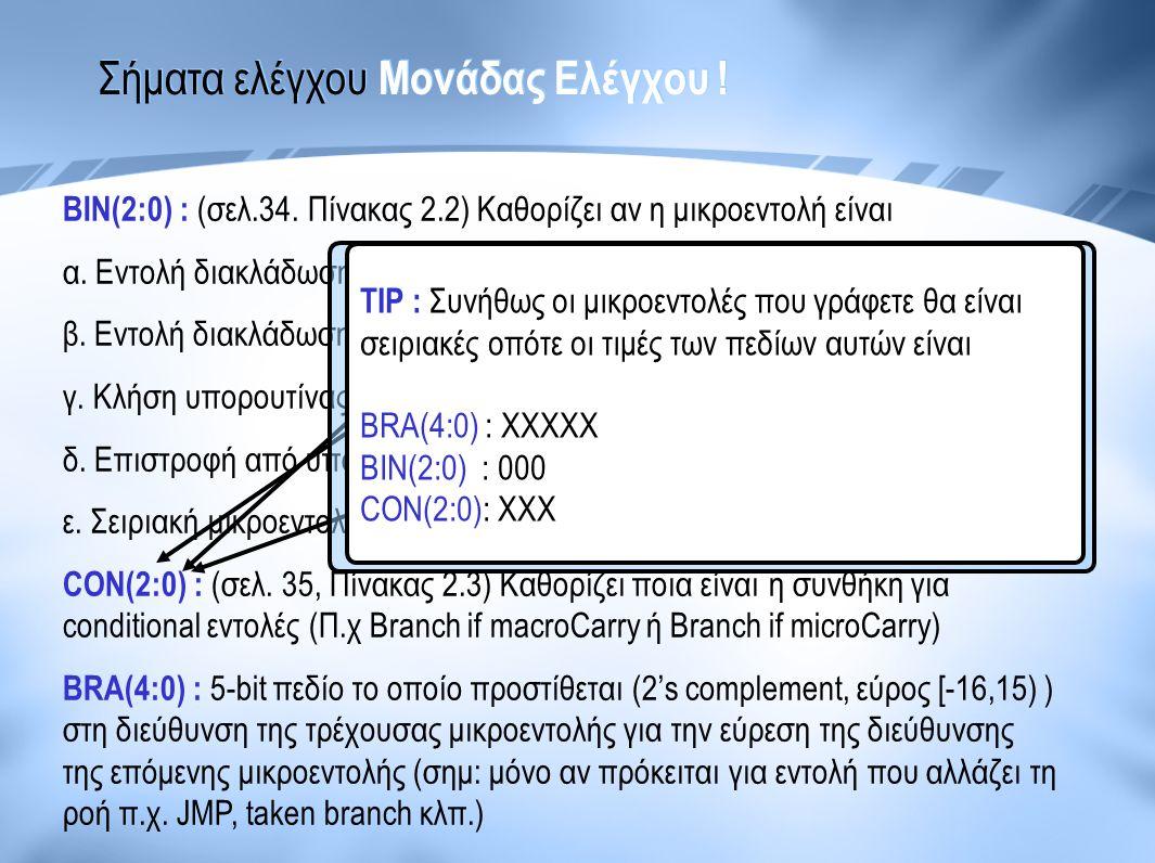Σήματα ελέγχου Μονάδας Ελέγχου ! ΒΙΝ(2:0) : (σελ.34. Πίνακας 2.2) Καθορίζει αν η μικροεντολή είναι α. Εντολή διακλάδωσης χωρίς συνθήκη (JMP - Jump) β.