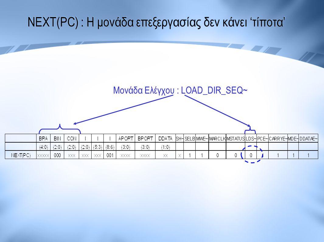 NEXT(PC) : Η μονάδα επεξεργασίας δεν κάνει 'τίποτα' Μονάδα Ελέγχου : LOAD_DIR_SEQ~
