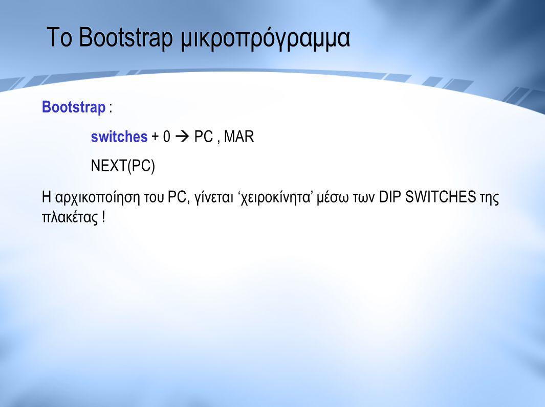Το Bootstrap μικροπρόγραμμα Bootstrap : switches + 0  PC, MAR NEXT(PC) Η αρχικοποίηση του PC, γίνεται 'χειροκίνητα' μέσω των DIP SWITCHES της πλακέτα