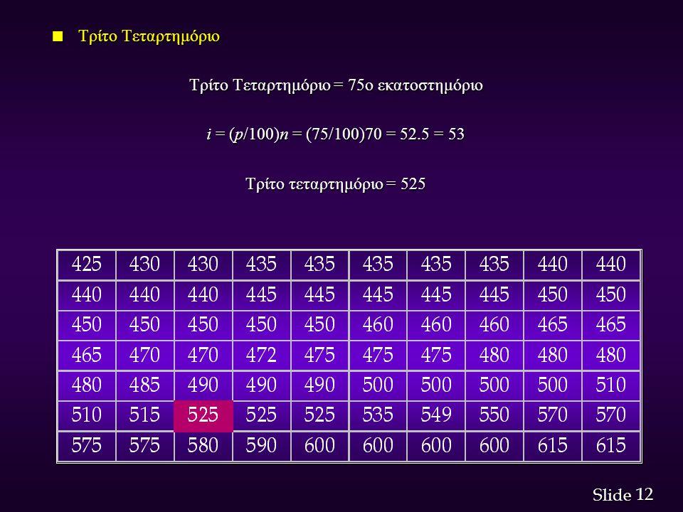 12 Slide n Τρίτο Τεταρτημόριο Τρίτο Τεταρτημόριο = 75ο εκατοστημόριο i = (p/100)n = (75/100)70 = 52.5 = 53 Τρίτο τεταρτημόριο = 525