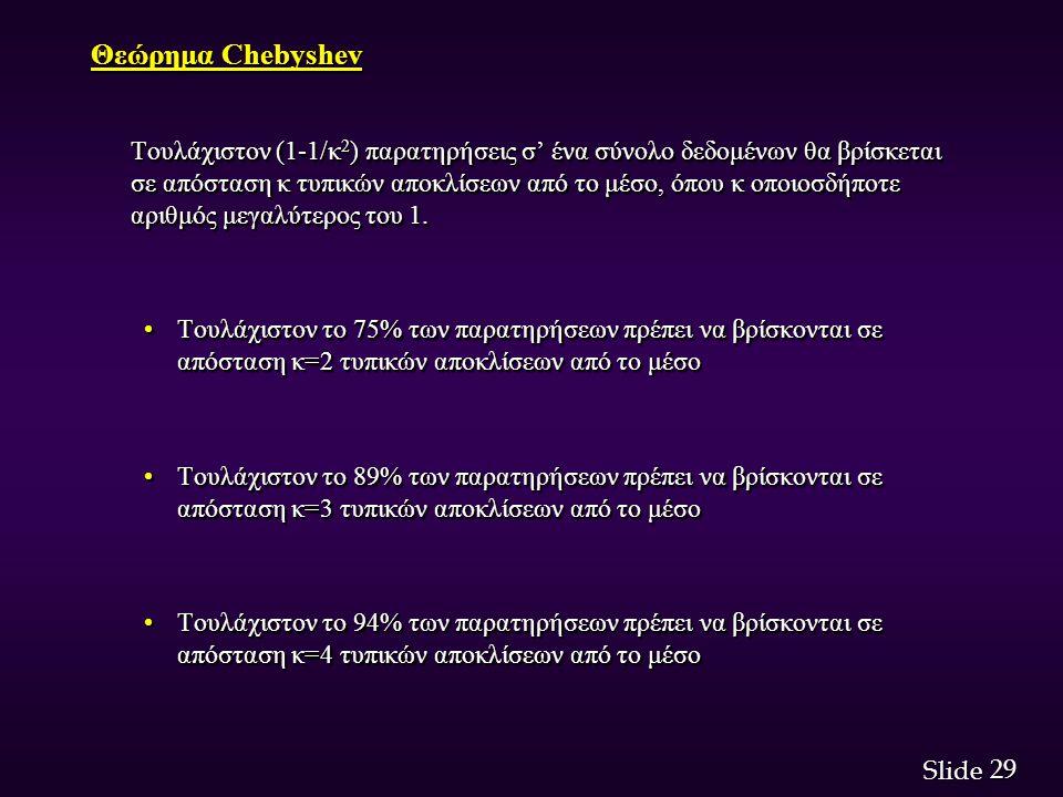 29 Slide Θεώρημα Chebyshev Τουλάχιστον (1-1/κ 2 ) παρατηρήσεις σ' ένα σύνολο δεδομένων θα βρίσκεται σε απόσταση κ τυπικών αποκλίσεων από το μέσο, όπου κ οποιοσδήποτε αριθμός μεγαλύτερος του 1.