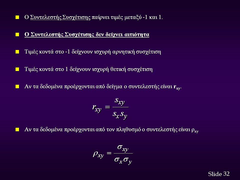 32 Slide n Ο Συντελεστής Συσχέτισης παίρνει τιμές μεταξύ -1 και 1. n Ο Συντελεστής Συσχέτισης δεν δείχνει αιτιότητα n Τιμές κοντά στο -1 δείχνουν ισχυ