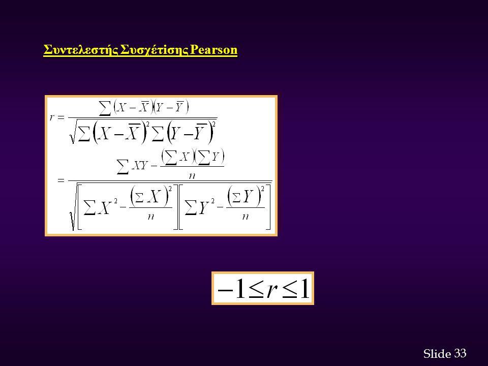 33 Slide Συντελεστής Συσχέτiσης Pearson