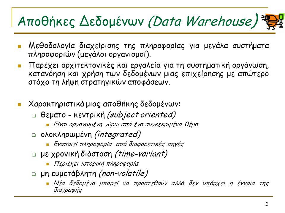 3 Ο κύβος  Τα data warehouses στηρίζονται στο πολυδιάστατο μοντέλο δεδομένων (κύβο).