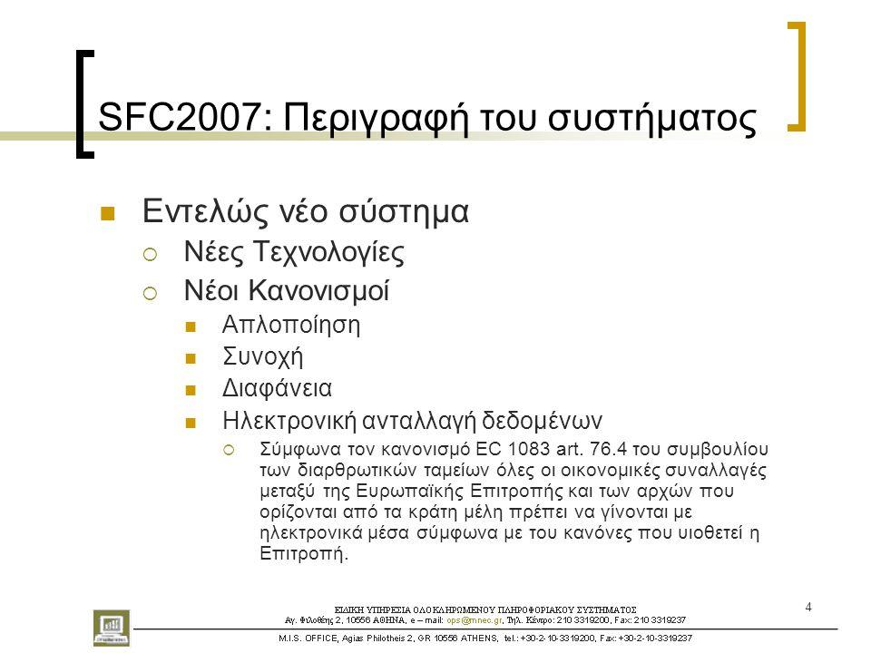 15 SFC2007: Απαιτούμενα δεδομένα για το ΕΣΠΑ  Τα επιχειρησιακά προγράμματα (με τους αριθμούς CCI)  Ο χρηματοδοτικός πίνακας (ετήσια προσδιοριζόμενα ποσά κατ' έτος και πρόγραμμα)  Η εκ των προτέρων επαλήθευση της προσθετικότητας.