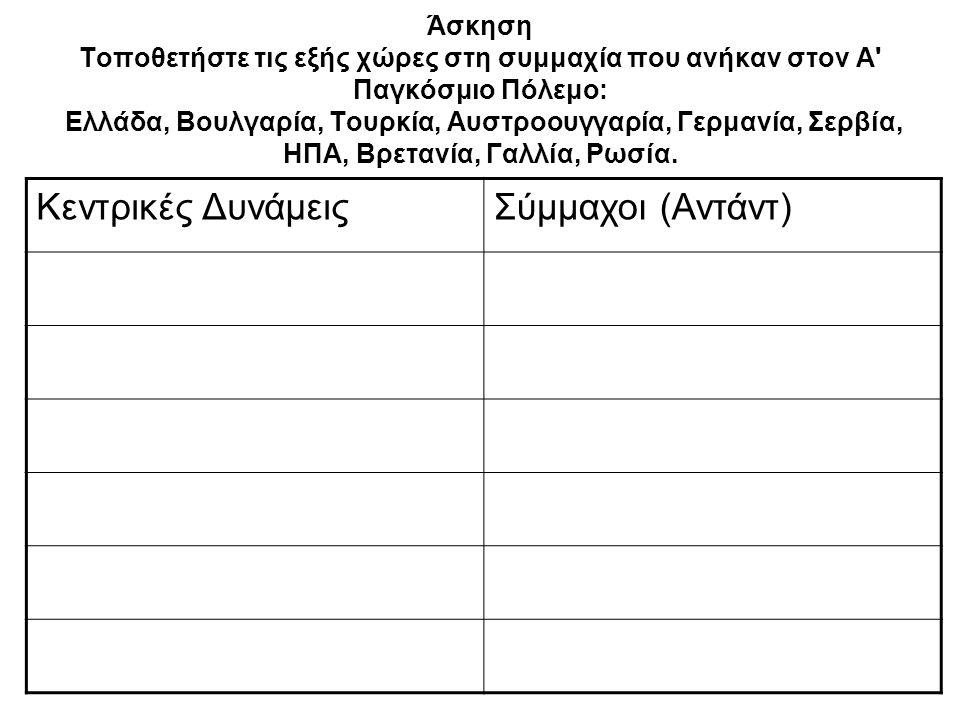 Άσκηση Τοποθετήστε τις εξής χώρες στη συμμαχία που ανήκαν στον Α' Παγκόσμιο Πόλεμο: Ελλάδα, Βουλγαρία, Τουρκία, Αυστροουγγαρία, Γερμανία, Σερβία, ΗΠΑ,