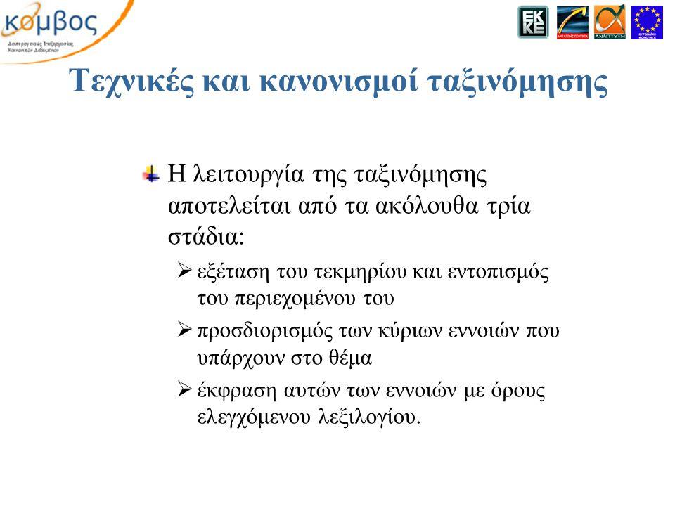 Τεχνικές και κανονισμοί ταξινόμησης Η λειτουργία της ταξινόμησης αποτελείται από τα ακόλουθα τρία στάδια:  εξέταση του τεκμηρίου και εντοπισμός του περιεχομένου του  προσδιορισμός των κύριων εννοιών που υπάρχουν στο θέμα  έκφραση αυτών των εννοιών με όρους ελεγχόμενου λεξιλογίου.
