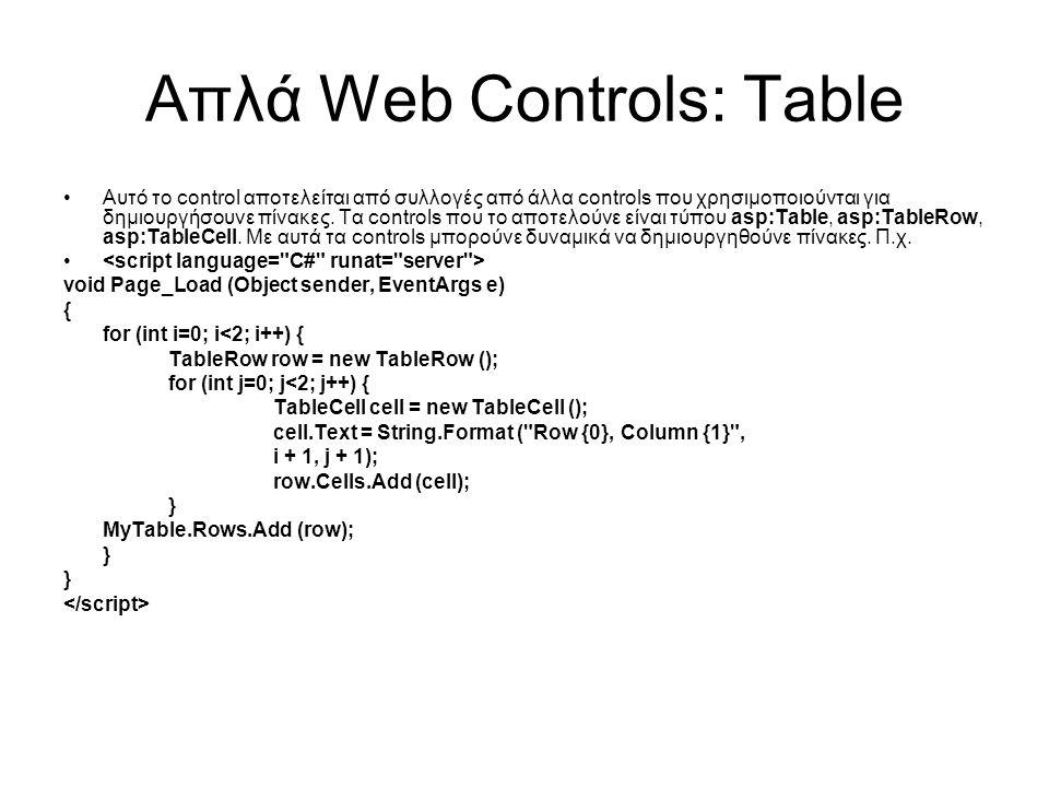 Απλά Web Controls: Table •Αυτό το control αποτελείται από συλλογές από άλλα controls που χρησιμοποιούνται για δημιουργήσουνε πίνακες. Τα controls που