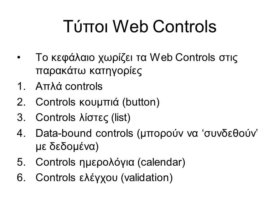 Τύποι Web Controls •Το κεφάλαιο χωρίζει τα Web Controls στις παρακάτω κατηγορίες 1.Απλά controls 2.Controls κουμπιά (button) 3.Controls λίστες (list)