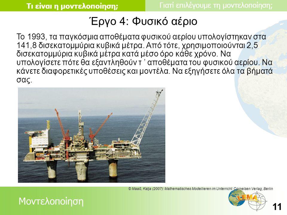 Lessons Μοντελοποίηση Τι είναι η μοντελοποίηση; Γιατί επιλέγουμε τη μοντελοποίηση; 11 Έργο 4: Φυσικό αέριο Το 1993, τα παγκόσμια αποθέματα φυσικού αερ