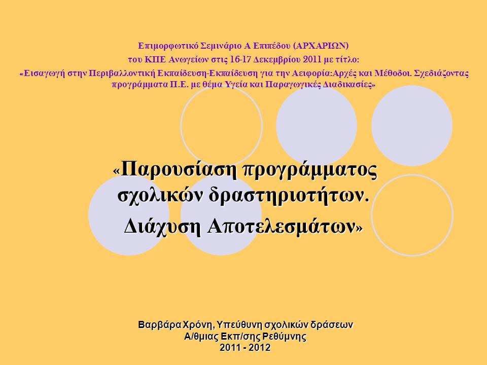 Ε π ιμορφωτικό Σεμινάριο Α Ε π ι π έδου ( ΑΡΧΑΡΙΩΝ ) του ΚΠΕ Ανωγείων στις 16-17 Δεκεμβρίου 2011 με τίτλο : « Εισαγωγή στην Περιβαλλοντική Εκ π αίδευση - Εκ π αίδευση για την Αειφορία : Αρχές και Μέθοδοι.