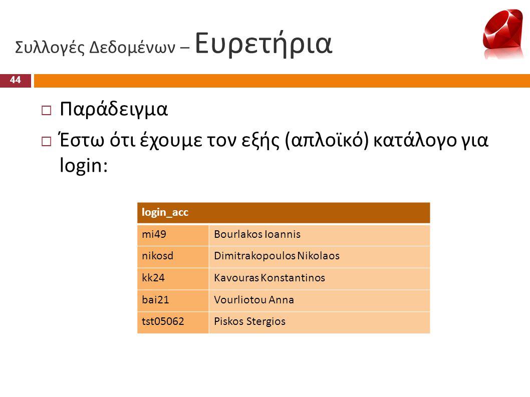 Συλλογές Δεδομένων – Ευρετήρια  Παράδειγμα  Έστω ότι έχουμε τον εξής (απλοϊκό) κατάλογο για login: 44 login_acc mi49Bourlakos Ioannis nikosdDimitrak