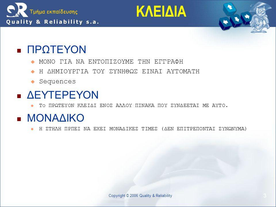 14 Copyright © 2006 Quality & Reliability ΤΕΛΟΣ ΜΕΡΟΥΣ 1-2-1
