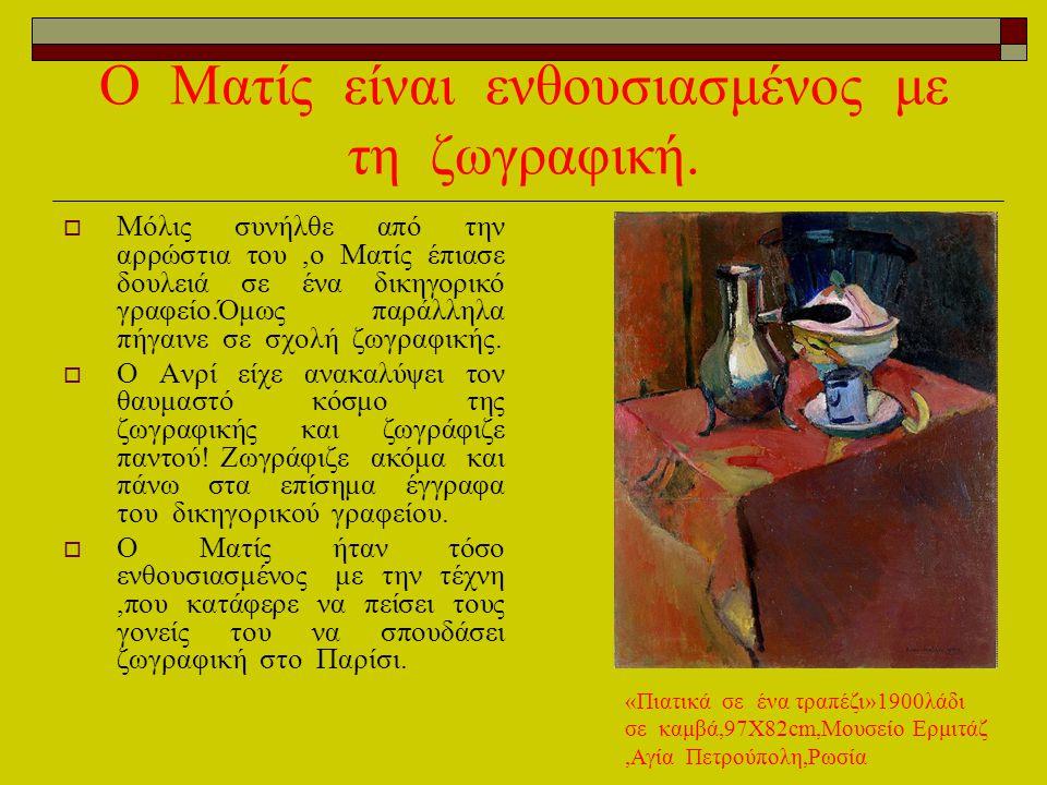 Ο Ματίς είναι ενθουσιασμένος με τη ζωγραφική. ΜΜόλις συνήλθε από την αρρώστια του,ο Ματίς έπιασε δουλειά σε ένα δικηγορικό γραφείο.Όμως παράλληλα πή