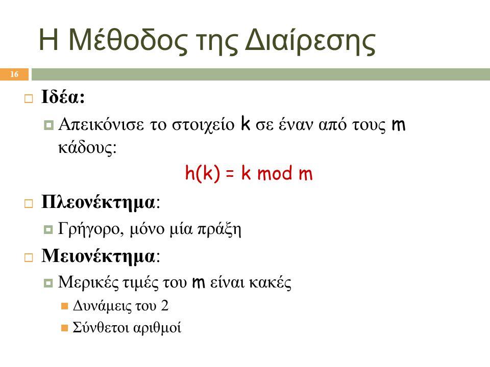 Η Μέθοδος της Διαίρεσης  Ιδέα:  Απεικόνισε το στοιχείο k σε έναν από τους m κάδους: h(k) = k mod m  Πλεονέκτημα:  Γρήγορο, μόνο μία πράξη  Μειονέ