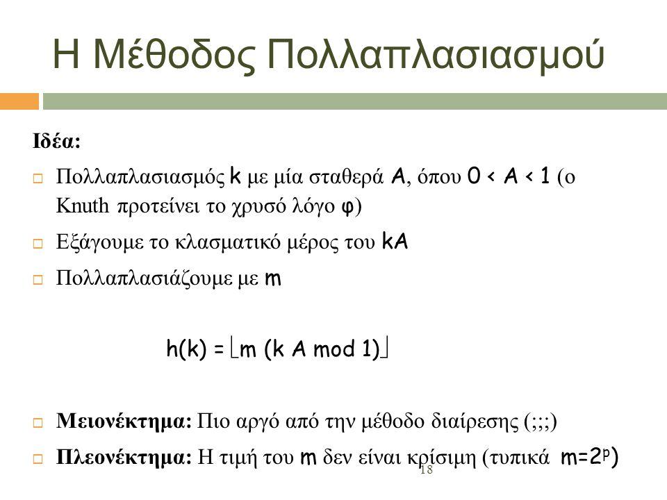 18 Η Μέθοδος Πολλαπλασιασμού Ιδέα:  Πολλαπλασιασμός k με μία σταθερά A, όπου 0 < A < 1 (ο Knuth προτείνει το χρυσό λόγο φ )  Εξάγουμε το κλασματικό