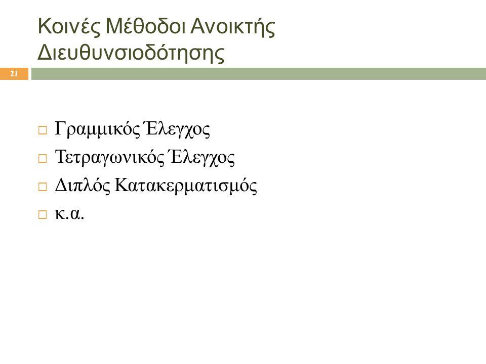 Κοινές Μέθοδοι Ανοικτής Διευθυνσιοδότησης  Γραμμικός Έλεγχος  Τετραγωνικός Έλεγχος  Διπλός Κατακερματισμός  κ.α. 21
