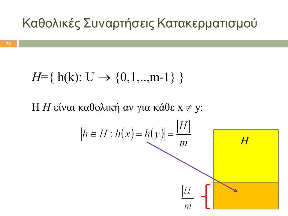 Καθολικές Συναρτήσεις Κατακερματισμού H={ h(k): U  {0,1,..,m-1} } Η H είναι καθολική αν για κάθε x  y: 29 H