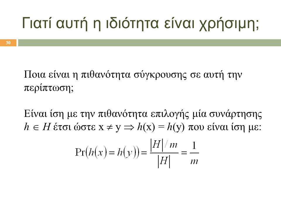 Γιατί αυτή η ιδιότητα είναι χρήσιμη; Ποια είναι η πιθανότητα σύγκρουσης σε αυτή την περίπτωση; Είναι ίση με την πιθανότητα επιλογής μία συνάρτησης h 