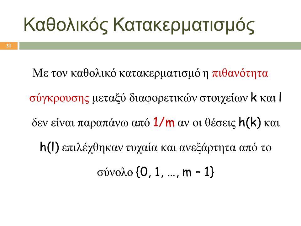Καθολικός Κατακερματισμός Με τον καθολικό κατακερματισμό η πιθανότητα σύγκρουσης μεταξύ διαφορετικών στοιχείων k και l δεν είναι παραπάνω από 1/m αν ο