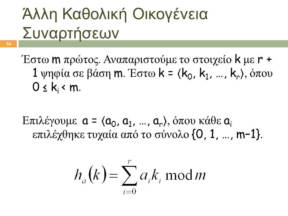 Άλλη Καθολική Οικογένεια Συναρτήσεων 34 Έστω m πρώτος. Αναπαριστούμε το στοιχείο k με r + 1 ψηφία σε βάση m. Έστω k = 〈 k 0, k 1, …, k r 〉, όπου 0 ≤ k