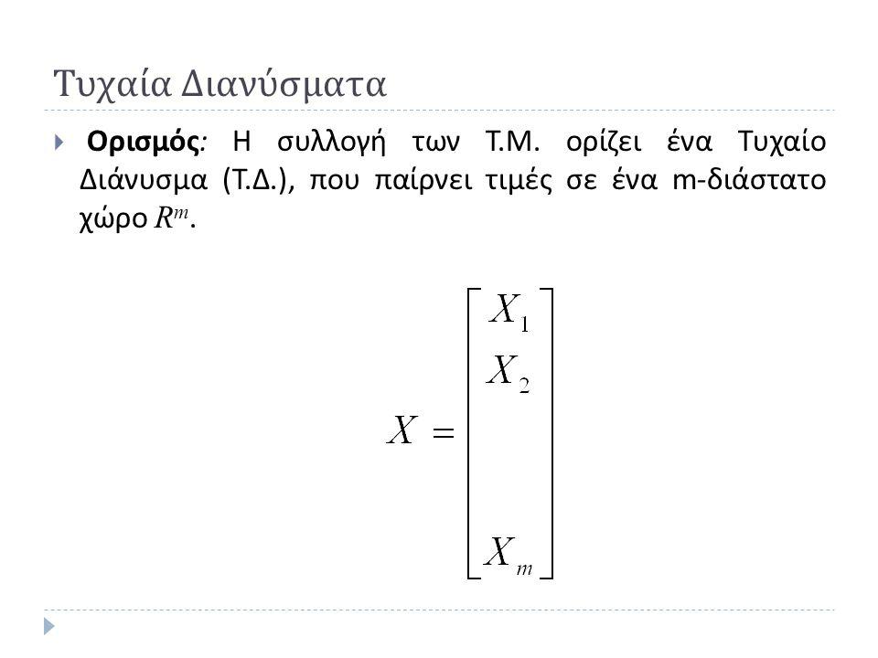 Ιδιότητες Πολυδιάστατης Κανονικής Κατανομής  Αν το Τ. Δ. Χ μπορεί να χωριστεί :  Όπου  Τότε :