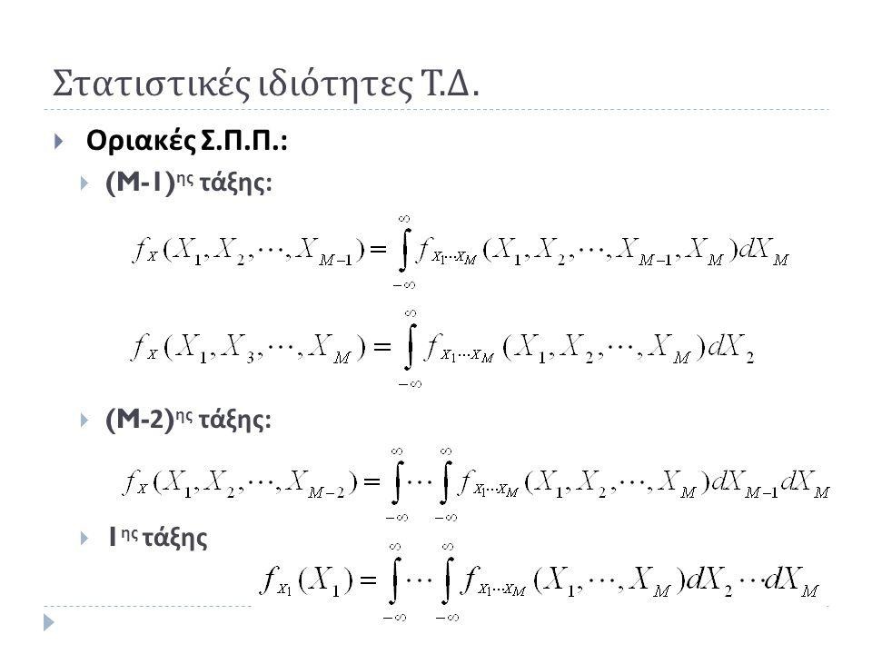 Παράδειγμα : Άθροισμα δύο Τ.Μ.  Παράδειγμα : Έστω Y 1 = X 1 + X 2, όπου X 1, X 2 ανεξάρτητες Τ.