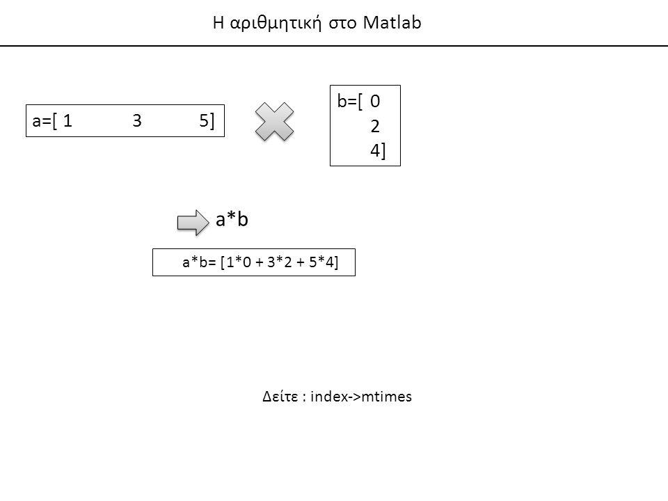 Η αριθμητική στο Matlab a*b a*b= [1*0 + 3*2 + 5*4] Δείτε : index->mtimes a=[ 135] b=[0 2 4]