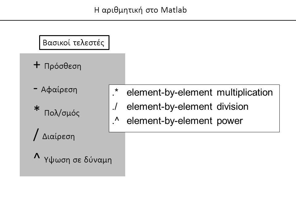 + Πρόσθεση - Αφαίρεση * Πολ/σμός / Διαίρεση ^ Υψωση σε δύναμη Βασικοί τελεστές.*element-by-element multiplication./element-by-element division.^element-by-element power